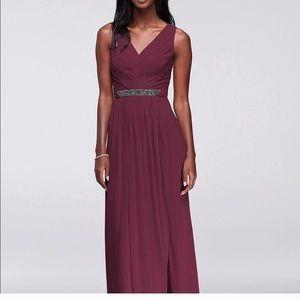 Wine burgundy maroon bridesmaid dress